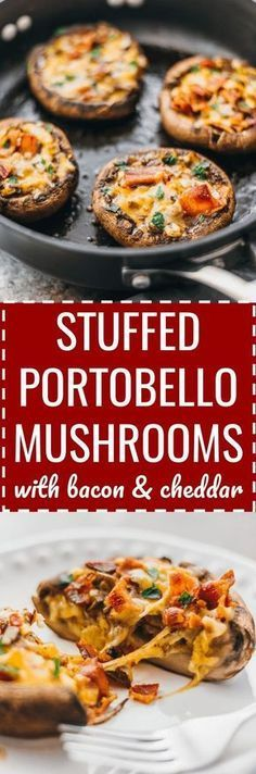 These easy and low carb portobello mushrooms are stuffed with cheddar cheese, onions, and crispy bacon. keto, low carb, diet, atkins, induction, meals, recipes, easy, dinner, lunch, foods, healthy, best, appetizer, classic, paleo, gluten free, portabella, simple, baked, garlic, cheesy, caps, large #mushrooms #keto