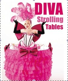 Diva Strolling Tables ! A must for your event they Glide , interact serve champagne and cakes ... they even sing!!
