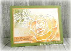 Stampin' Up! Rose Garden Thinlits with Brusho - Card Quickie video tutorial showing how I made this card using the Brusho Crystal Colour!