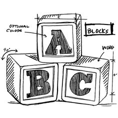 Tim Holtz Rubber Stamp 2015 BLOCKS SKETCH Stampers Anonymous M42619
