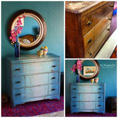 Reminds me of faded jeans......The Turquoise Iris ~ Vintage Modern Hand Painted Furniture: BEFORE & AFTER