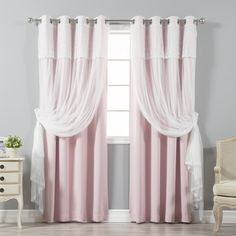 Aurora Home Tulle Sheer with Attached Valance and Amp Solid Blackout Curtain Panel Pair - Free Shipping Today - Overstock.com - 20812321 - Mobile