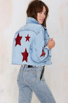 After Party Vintage Star-Crossed Denim Jacket - Jackets + Coats