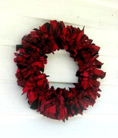 red and black woolly winter plaid wreath