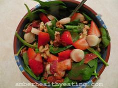 Mom's Spinach, Bacon, Walnut, Hearts of Palm Salad-  Keto Paleo Low Carb Grain-Free