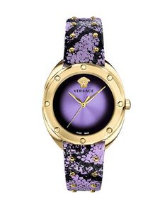 + Shadov + Leather + Watch, + Gold / Purple + From + Versace + to + Neiman + Marcus + Last + Call. rnrnSource by lillianlafleur Lila Gold, Purple Gold, Purple Leather, Elegant Watches, Beautiful Watches, Cool Watches, Watches For Men, Unusual Watches, Popular Watches
