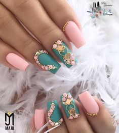 - Care - Skin care , beauty ideas and skin care tips Fabulous Nails, Gorgeous Nails, Pretty Nails, Bling Nails, Swag Nails, Multicolored Nails, Nails Only, Fire Nails, Swarovski Nails