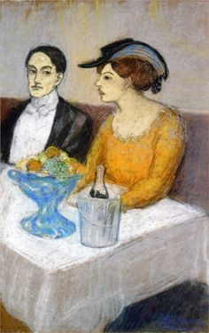 'Man and Woman a the Table: Angel Fernandez de Soto and his Friend' Pablo Picasso (1902-1903) Private collection Drawing - pastel