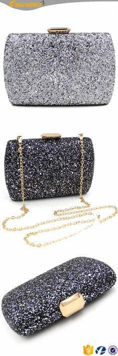 Girly Shiny Wrinkle Design Evening Banquet Clutch Prom Shoulder Bags For Dinner
