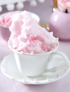 Decorated Tea Cups with Cotton Candy