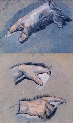 Maurice Quentin de La Tour, studies of men's hands, 18th century. Musée Antoine Lecuyer, Saint-Quentin, France