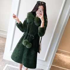 100% Real Wool Long Coat With Fox Fur Collar Outwear Jacket Hoody Wearcoat