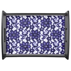 """""""Stylish Designs"""" Blue Flower Lace Serving Tray"""