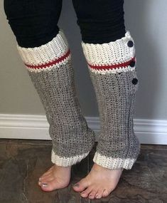 Wool Sock Leg Warmers Crochet Pattern Sock Monkey Style Work Sock Grey Red White Stripes with Heel Buttons Convertible High Low Ribbed Easy