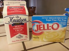 Low carb dessert: just mix these two together using a mixer or beat by hand. Mix until thick. Place in refrigerator and in about 20 min ready to eat. You can use chocolate flavor, butterscotch...etc. So good with whipped cream on top