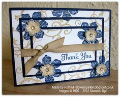 : Triple Time Stamped Thank You Card- Vintage Vogue and Baroque Motifs