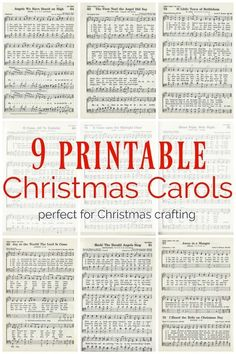 Christmas music ornaments and free printable Christmas carols - Lovely Etc. - 9 printable Christmas carols for making christmas music ornaments and other Christmas crafts Informa - Christmas Projects, Holiday Crafts, Vintage Christmas, Christmas Holidays, Christmas Things To Do, Christmas Ideas, Christmas Card Crafts, Christmas Carols Songs, Christmas Sheet Music