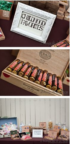 childhood candy favors in cigar boxes