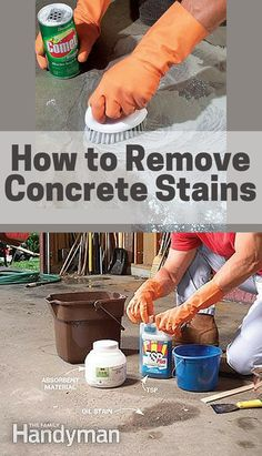 Removing Oil, Paint and Other Concrete Stains Remove oil and grease stains from concrete using TSP and other cleaners http://www.familyhandyman.com/garage/removing-oil-paint-and-other-concrete-stains/view-all