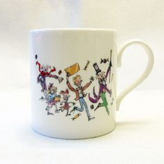 Charlie and the Chocolate Factory 50th Anniversary bone china mug, featuring Roald Dahl's characters as illustrated by Quentin Blake