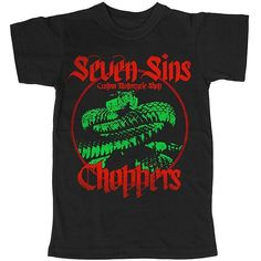 Seven Sins Choppers NEW VIPER Shop Tee design in red & green. #sevensinschoppers #sevensins #snake #dragon #shop #motorcycle #apparel #tee #tshirt #viper #red #green
