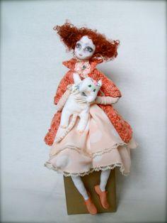 Art Doll Kate with cat OOAK Handmade art doll soft by JRlele