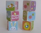 Cute #Easter #toy /#Gift   Easter Wood Block Toy or Decor - Spring Friends -Set of 6 $28.50