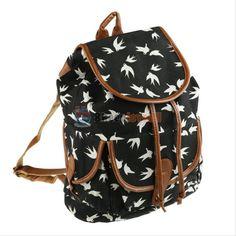 Vintage Women Canvas Satchel School Backpack Travel Bags Casual Bookbag Rucksack