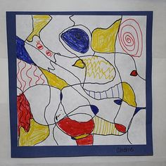 Dubuffet Drawings   Dali's Moustache- Good way to review primary colors. Different then always teaching Mondrian, and much more opportunity for original pieces!
