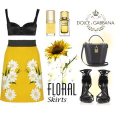 Floral Skirt by conch-lady on Polyvore featuring Dolce&Gabbana and Floralskirts