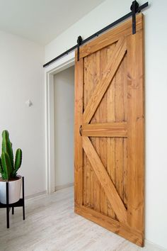 This Contemporary Sliding Interior Barn Door Blends Home Projects, Home And Living, Sweet Home, Bedroom Decor, Budget Bedroom, New Homes, Home And Garden, House Design, Doors