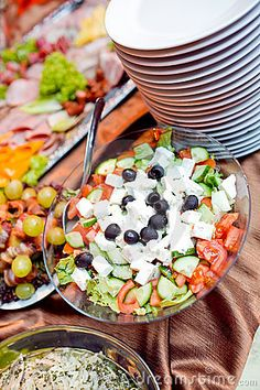 Catering food by Michał Gajzner, via Dreamstime Catering Food Displays, Greek Salad, Food Presentation, Cobb Salad, Food To Make, Cooking, Affair, Entertaining, Pictures