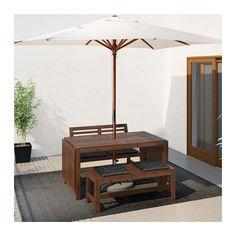ÄPPLARÖ Table+2 benches, outdoor - Äpplarö brown stained/Hållö black - IKEA