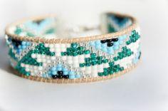 Beaded Leather Friendship Bracelet Aztec Design by MidnightLoom, £10.50
