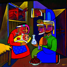 A guided nativity reflection based on He Qi's painting The Magi | Sacraparental.com