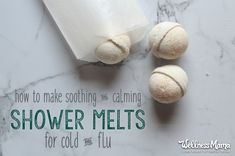 These simple natural shower melts soothe and calm coughs, colds, and flu with baking soda, magnesium, essential oils, and menthol. Or make an aromatherapy version with lavender, rose, or lemon essential oils to use anytime!