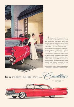 RED CADILLAC AD Ad Classic Car Ad by EncorePrintSociety on Etsy