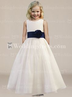 cream flower girl dresses with navy blue  | Home / Formal Ball Gown Flower Girl Dress with Sash and Bow Fl192