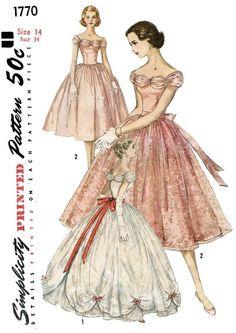 50's Strapless Boned Evening Dress Full Skirt w Scalloped Overskirt Party Prom | eBay