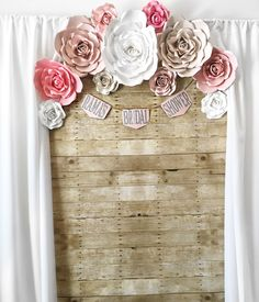 Bridal shower backdrop, bridal shower party, rustic bridal shower, paper flowers, paper flower backdrop, curtain drapes backdrop, wooden backdrop, bridal shower ideas, bridal shower banner, paper flower backdrop, rose, rustic bridal, photo backdrop, photo booth