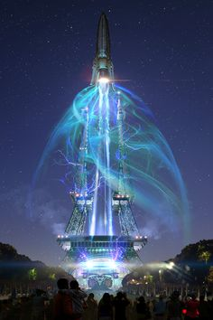 Tomorrowland pre-production movie concept illustration by  Scott Chambliss. Ascent of the Spectacle rocket, Paris.