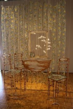 27th January - 31st January.     Beginning to indulge into embroidery pieces and Amanda McCavour caught my eye with her embroidery dissolved fabric works. I love the delicacy this work shows.