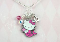 Hello Kitty Mermaid Crystal Charm Necklace by 1PixiePlace on Etsy, $10.00