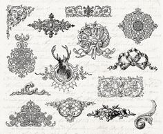 Digital Collage Sheet  14 Vintage Embellishments by DIYVintageArt, $4.20