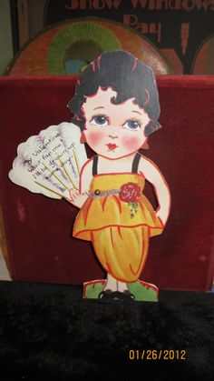 1920's Art Deco Carrington's  Valentines Day card die cut Flapper with mechanical fan adorable unused. $12.00, via Etsy.