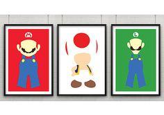 Super Mario Print Set, Set of Three Super Mario Minimalist Prints,Minimalist Video Game Art, Mario, Luigi & Toad Poster Set