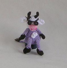 Crochet pattern egg warmer purple cow
