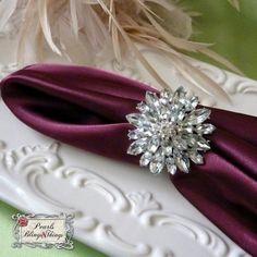 Large Custom Flower Rhinestone Napkin Ring Holder Brooch SILVER Crystal Brooches Napkin rings