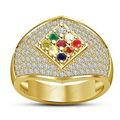 14k Yellow Gold Plated .925 Multi-Stone Navratna Wedding Ring Unisex Sz Avl #Aonedesigns #Navratna