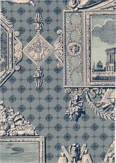 Les Vues de Paris Wallpaper £86.00 per roll Blue and cream scenes of Paris wallpaper Width 68 .5cms Pattern repeat 45 .5cms Roll length 10 .05m